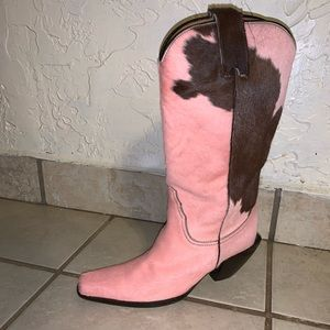 Pink animal leather boots